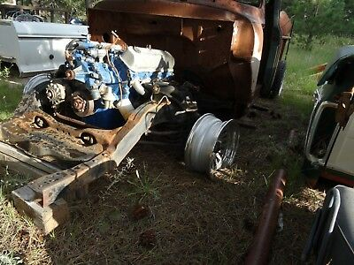 """1956 Ford F-100  1956 ford f100  on modifed torino frame  4 link 9"""" 460 c6 rat rod patina lowered"""