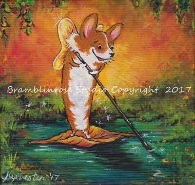 Welsh Pembroke CORGI Painting Dog Fairy Fall Leaves Autumn Original ART Gift