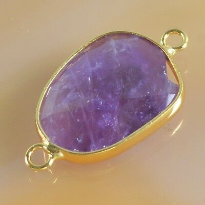 Natural Amethyst Faceted Bezel Connector Gold Plated B049389