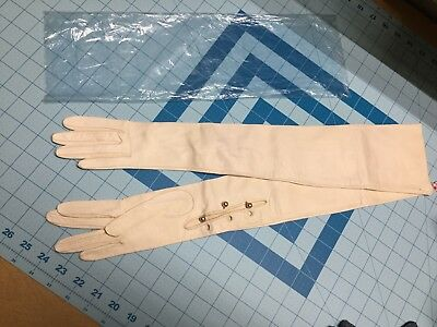 """ADEM KID LEATHER OPERA GLOVES 22"""" glass faux pearl buttons never worn no size"""