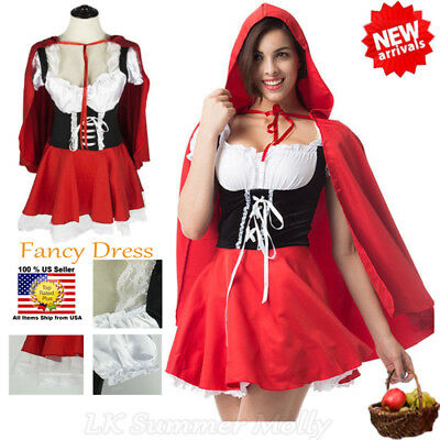 Halloween Little Red Riding Hood Fairytale Storybook Fancy Dress Costume Outfit