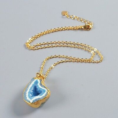 """15.5"""" Uneven Blue Agate Druzy Geode Cave Necklace Gold Plated T039646"""