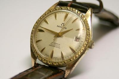Vintage MILUS WATCH- 35mm-Mens Hand Wind, Swiss Made, c1960s, Date,Textured Dial