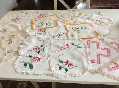 6 Sets Embroidery / Embroidered Doilies * lace trim in good condition Bulk Lot