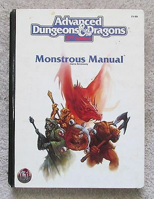 dungeons & dragons monstrous manual  2nd edition book    vg exc