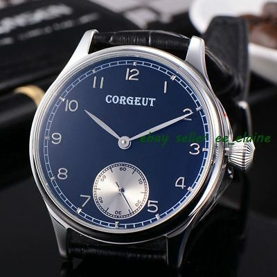 Corgeut 2002B 44mm Black Dial White Subdail Mens Hand Winding Watches 02