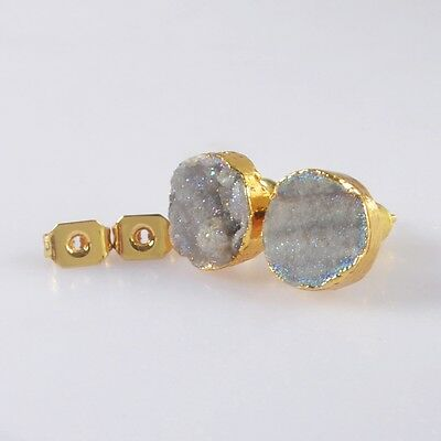 Titanium Rough Natural Brazilian Galaxy Quartz Stud Earrings Gold Plated T039622