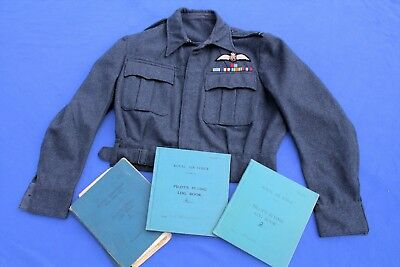 RCAF Flight Officers Grouping RAF Battle Dress Jacket w/3 Flight Logs US Trained