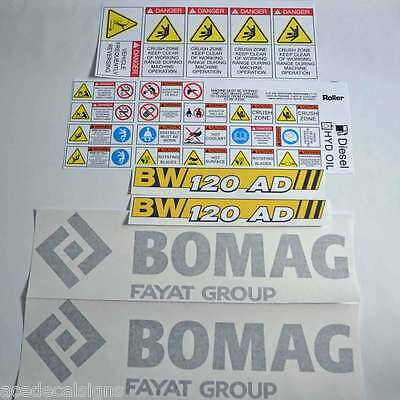 Bomag 120AD-5 Roller Decals Stickers Kit Vibrating Roller