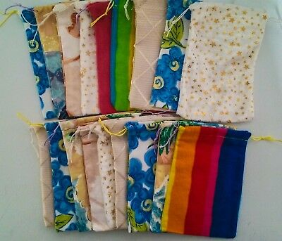 MIXED Recycled Fabric Drawstring Gift Bags/Pouches (9x14cm) BULK SALE x 18