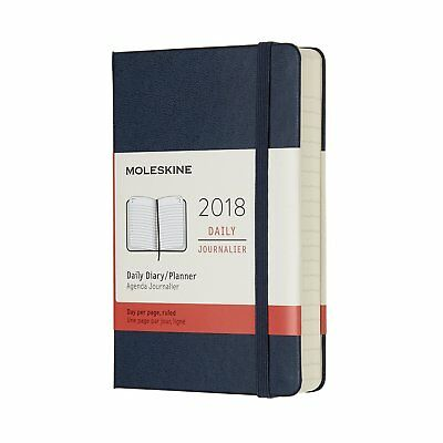 MOLESKINE Hard Cover Agenda Daily 2018 BLUE Pocket 9x14cm Layout Striped