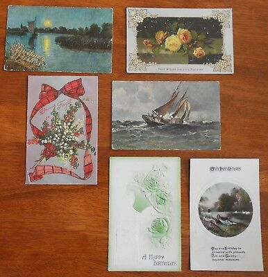 LOT OF 6 X VINTAGE BIRTHDAY GREETING POSTCARDS C1907 to 1911
