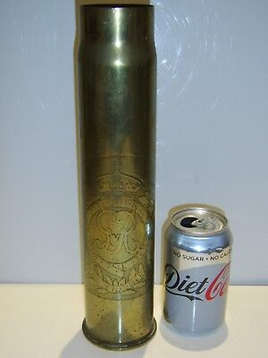 """EXCEPTIONAL WORKED ENRAVED WW1 Trench art shell """"Royal Engineers"""" & dated 1917."""