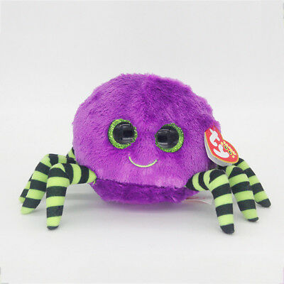 "6"" Ty Beanie Boos Crawly Purple Spider Dolls Stuffed Plush Toy Soft Animals Toys"