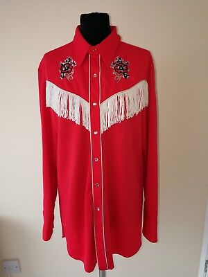 MWG Johnny West Red Cowboy Shirt ROCKABILLY Country Western Fringe tassle shirt
