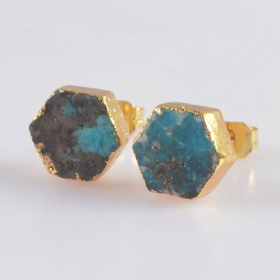 9mm Hexagon Natural Genuine Turquoise Stud Earrings Gold Plated H103663