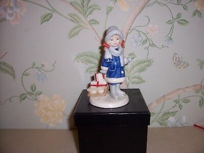 Royal Copenhagen 082 Christmas Girl With Presents On Sledge Approx 13.5 Cm Tall