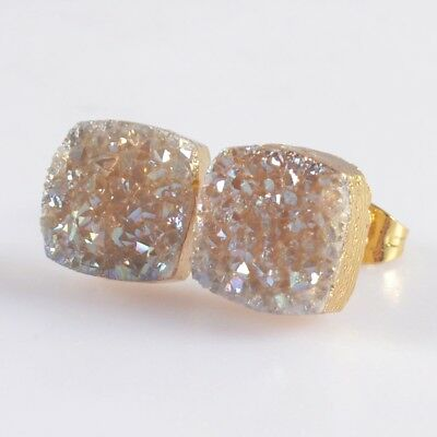 10mm Square Natural Agate Titanium Druzy Stud Earrings Gold Plated H103672