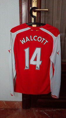 #14 WALCOTT, ARSENAL Official home long sleeve shirt used in EPL 2014-15