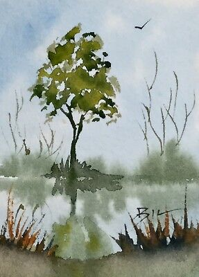 ACEO Original Art Watercolour Painting by Bill Lupton  - The Tree
