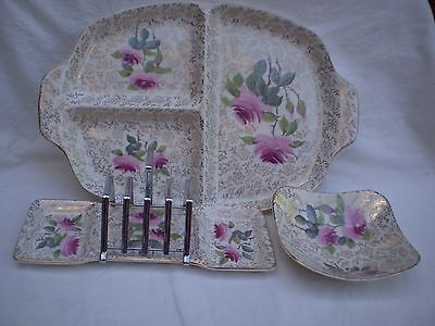 "Vintage 3 X Items ""midwinter Stylecraft"" Roses/gold Decoration Timeless Appeal!"