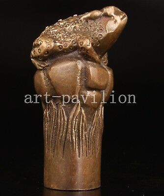 Cane Walking Stick Head Handle Bronze Statue Toad Lucky Collection