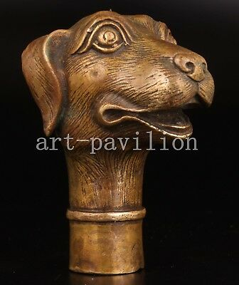 Bronze Animals Lovely Dog Cane Walking Stick Head Handle Collection