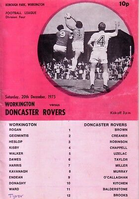 WORKINGTON v DONCASTER 1975/76 DIVISION 4