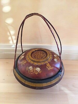 Decorative Burmese Rice Basket with Lid