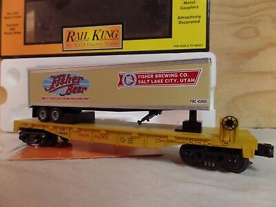 Mth Rail King Train Up Union Pacific Flat Car W/fisher Beer Trailer 30-76154