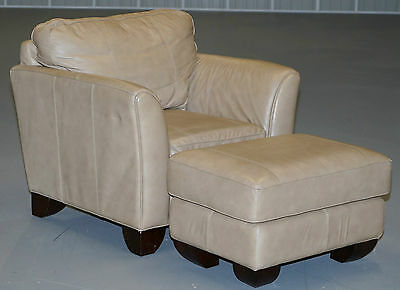 Cream Tan Brown Leather Club Armchair And Footstool Ottoman Very Comfortable