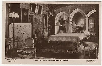 Lilywhite Real Postcard Of Billiard Room Bayons Manor , Tealby, Lincolnshire