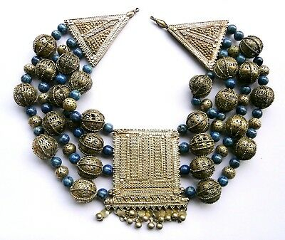 Vintage HUGE tribal necklace, Sodalite beads & large silver plated panel Unusual