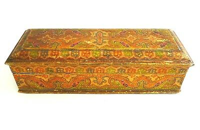 Antique Anglo-Indian Kashmiri hand painted casket/ lidded box- Sumptuous. Rare.
