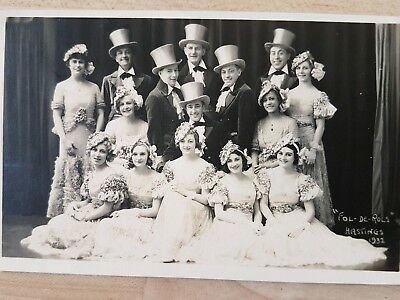 Vintage Real Photo Postcard. The Fol De Rols, Dance Troupe Hastings, 1932