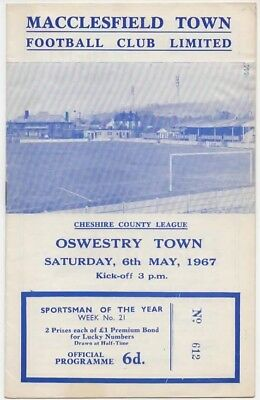 1967-Macclesfield Town V Oswestry Town-Cheshire County Non-League Programme