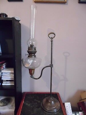 Vintage rise and fall copper student's desk  oil lamp