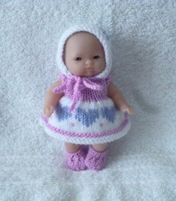 "Hand knitted doll clothes to fit 5"" Berenguer or similar"