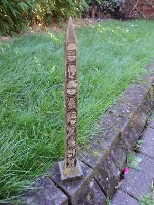 Mid Twentieth Century, Egyptian Stone Obelisk With Hand-Carved Hieroglyphs.
