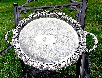 Large Fancy Antique Barker-Ellis England Silver Serving Tray Platter,grapevine