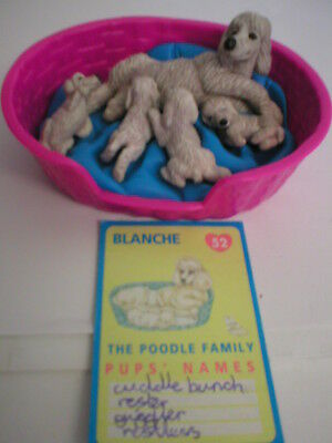 Puppy In My Pocket Meg  #52 Blanche With Puppies  Basket & Card