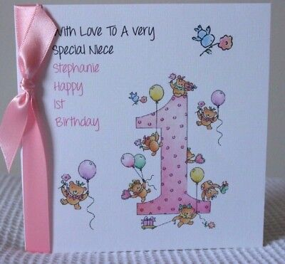 Personalised Handmade Baby Girls 1st Birthday Card Daughter GrandaughterSister