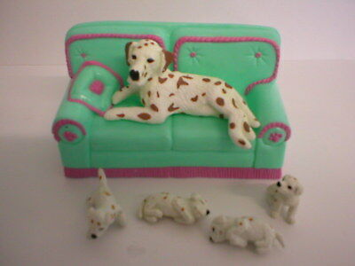Puppy In My Pocket #115 Rowan Brown Dalmatian With Puppies And Settee