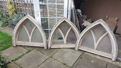 Victorian gothic chapel arched windows 3 available or upcycle to garden mirrors