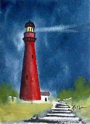 ACEO Original Art Watercolour Painting by Bill Lupton  - Glowing Light