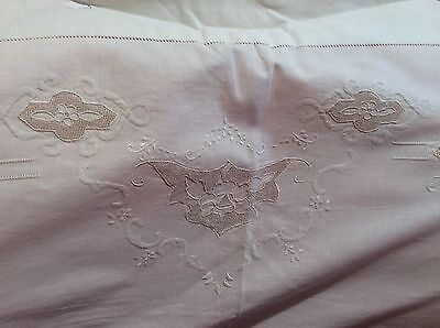 Antique Embroidered Rose Eyelet Lace Linen Flat Sheet 92 X 80 French Or Italian