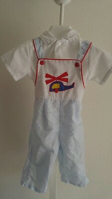Vintage Toddler Boy 2 Piece Overall Jumper Pants & Shirt Airplane Outfit~12-18 M