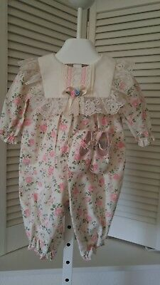Vintage Floral Baby Girl One Piece Coverall Jumper Romper & Shoes~3-6 mths