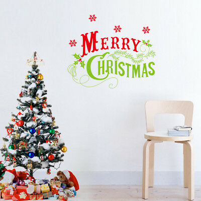 Colorful Merry Christmas Wall Quote Decals Stickers Home Room Decor Art Mural