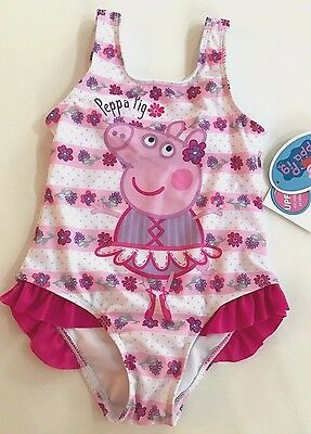 ~CUTE~ PEPPA PIG Swimsuit one-piece SIZE  3T/4T/5T   Pink Ruffles UPF 50+ NWT!!!
